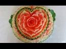 Hướng dẫn tỉa hoa từ Dưa hấu-Lesson 262 part 1 Carving Flower from Watermelon.