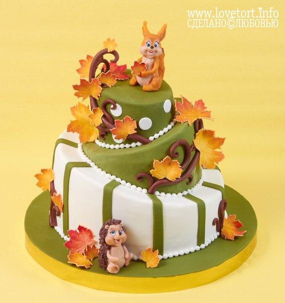 """Ярусный торт """"Осенняя сказка"""" с бельчонком и ежиком cake"""