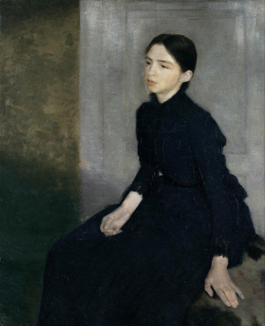 Вильгельм Хаммершёй Vilhelm Hammershoi 1864 - 1916 Портрет молодой женщины (сестра художника Анна Хаммершёй)