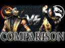 Mortal Kombat X VS MK9 Scorpion Comparison Face to Face Intro Gameplay Fatality and XRay
