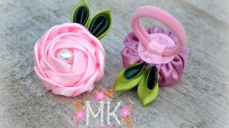 DIY. Rose.Троянда. Резинка для волосся.(Канзаші.MK)