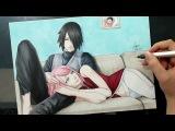 Speed Drawing - Sasuke and Sakura (Naruto)