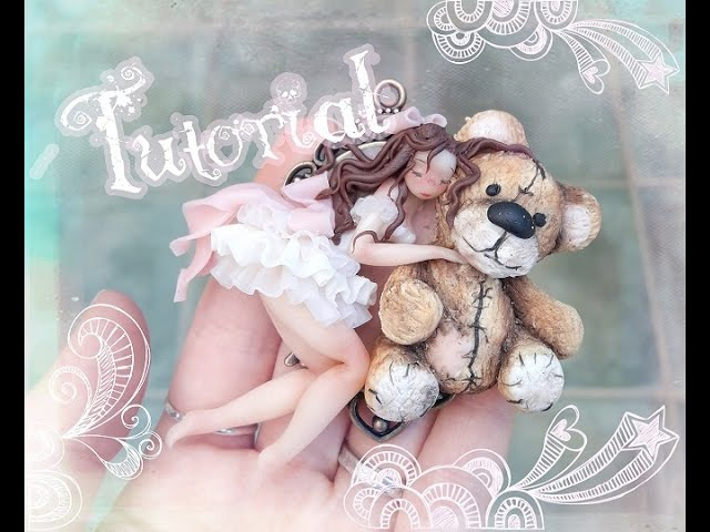 Tutorial Polymer clay Donnina orsetto Little woman and bear cub SUB ENG