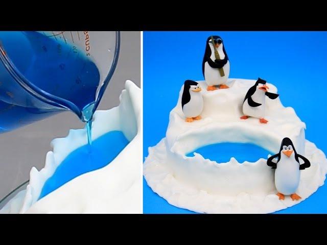 (vk.com/lakomkavk) Penguins Of Madagascar Jello Pool Cake - How to make by CakesStepbyStep