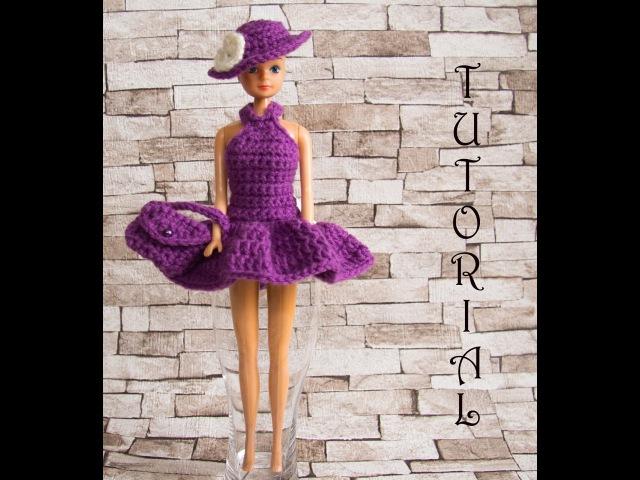 Sukienka na szydełku dla Barbie 2. torebka kapelusz. Crochet Barbie dress hat purse. Tutorial