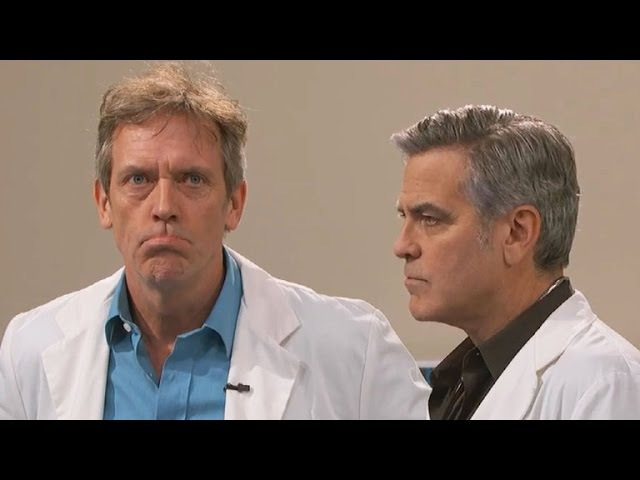 George Clooney and Hugh Laurie Revive 'E R ' and 'House' Doctors on 'Jimmy Kimmel Live'