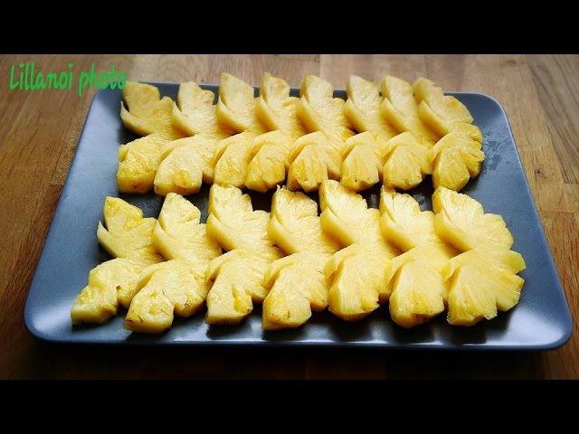 How to cut a pineapple วิธีปอกสับปะรดให้เป็นรูปผีเสื้อ แ361