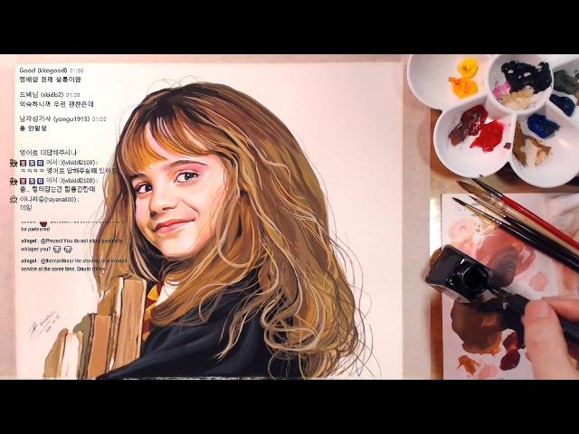Hermione(Emma Watson), Harry Potter - Gouache speed painting   drawholic