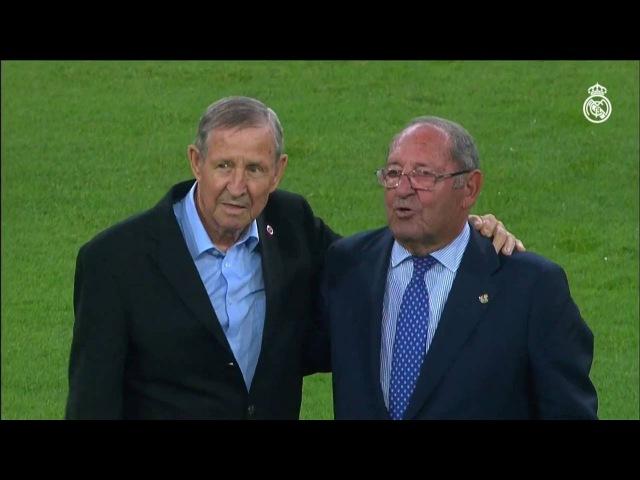 Gento and Kopa took an honorary kick-off before the Santiago Bernabéu Trophy