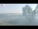 Сильный пожар на въезде в Курган. Автомобили вынуждены съезжать в кювет