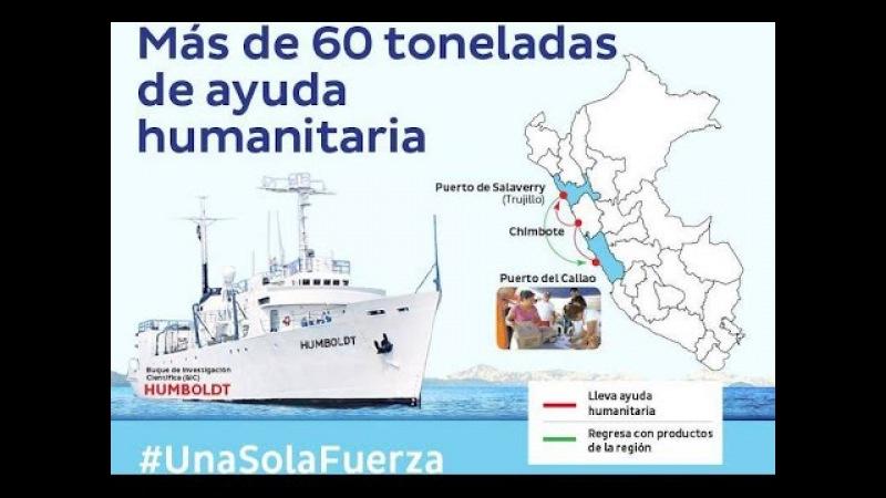 Buque Humboldt Envia Ayuda con 60 Toneladas