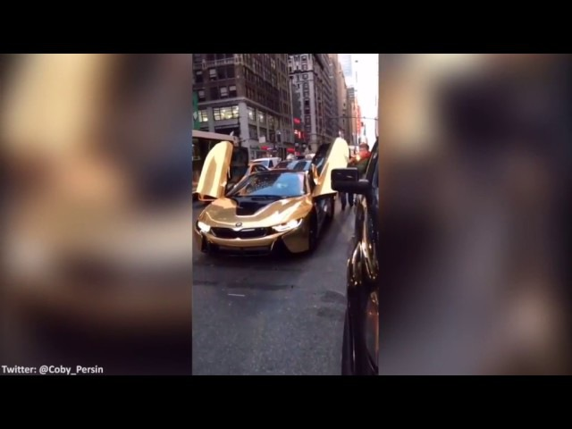 Coby Persin's Gold BMW i8 Smashed With Bat by Angry Guy