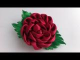 Украшение на заколку Канзаши / Бордовая роза / Kanzashi Rose