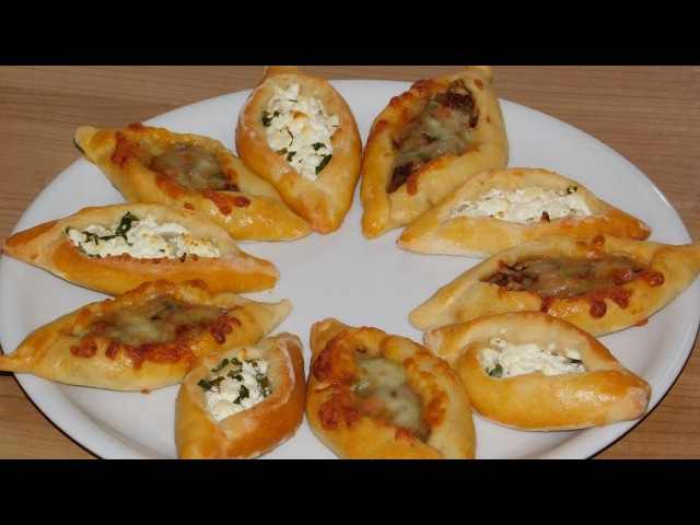 Мини ПИДЕ по турецки с мясной и сырной начинкой