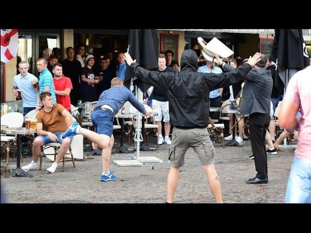 Сутычкі расейскіх і ангельскіх фанаў у Лілі Russian and English clash in Lille Белсат