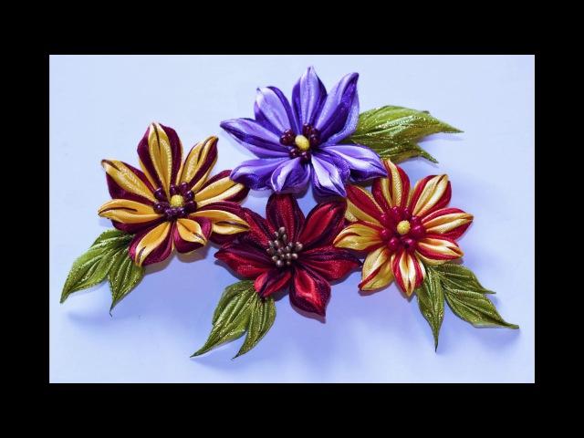 Цветок с полосатыми лепестками, канзаши, МК