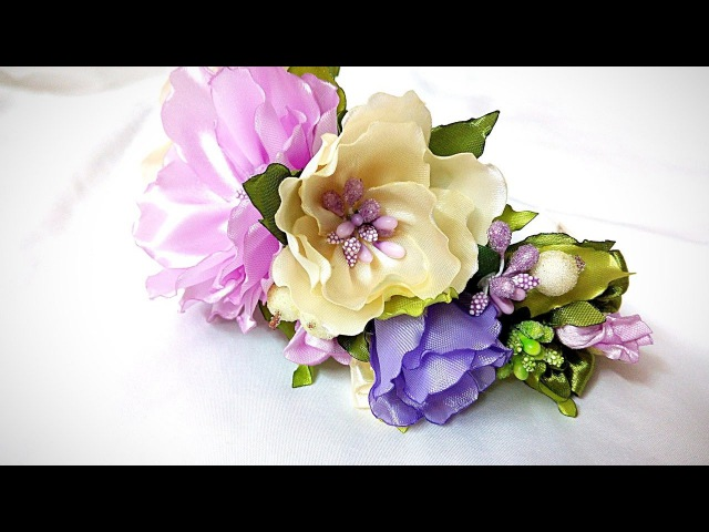 DIY Ободок с цветами канзаши из лент часть 1 / flowers of the tapes kanzashi