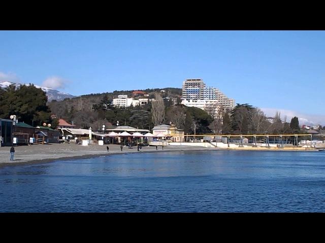 Крым. Алушта сегодня (29.01.2017) - набережная и море. Погода чудесная!