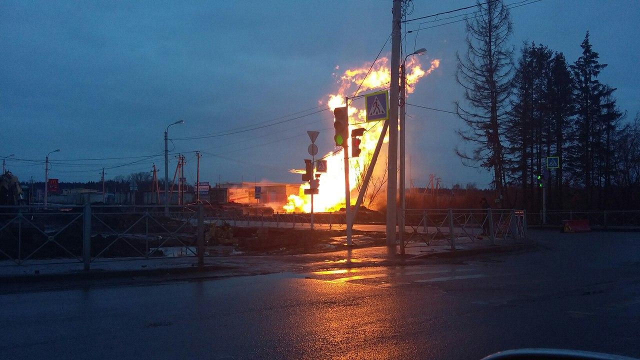 ВГатчине взорвался газопровод, Красносельское шоссе перекрыли— YouTube ВИДЕО