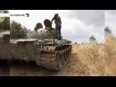 Попадание снаряда в башню танка.