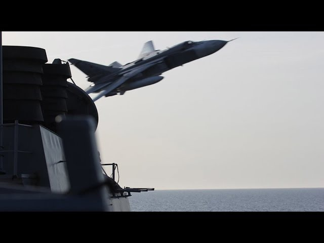 Russian Jets fly Mock Attacks on US Navy Ship DDG USS Donald Cook Baltic Sea WWIII Close Encounter