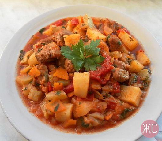 Овощное рагу с кабачками и грибами рецепт