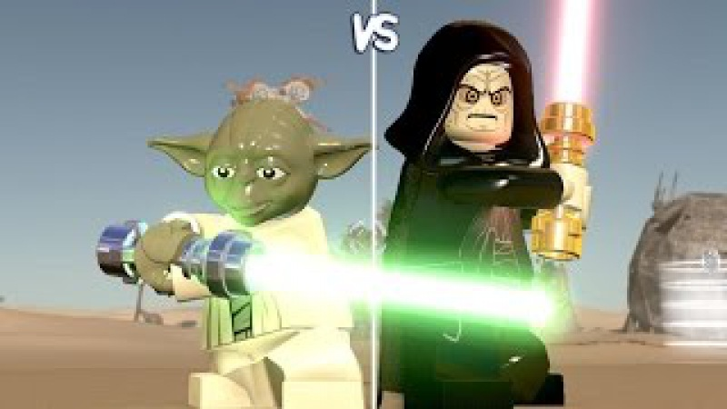 LEGO Star Wars: The Force Awakens - Yoda vs Palpatine - CoOp Fight | Free Roam Gameplay [HD]