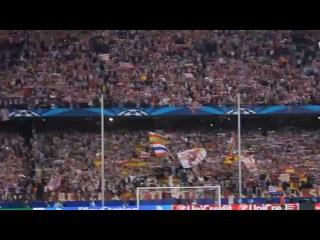 Atletico de Madrid gana en el Calderón al Barcelona. Increíble la afición!