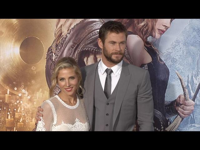 Chris Hemsworth Elsa Pataky The Huntsman Winter's War Premiere Black Carpet Fashion Broll