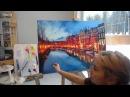Завершение работы над картиной Огни большого города. Ольга Базанова