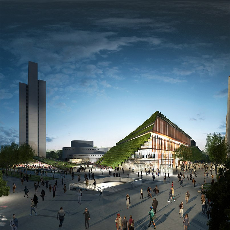 ingenhoven architects to reconfigure düsseldorf's city center with stepped green façades
