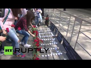 В Москве почтили память погибших при пожаре в Доме профсоюзов в Одессе (2.05.16)