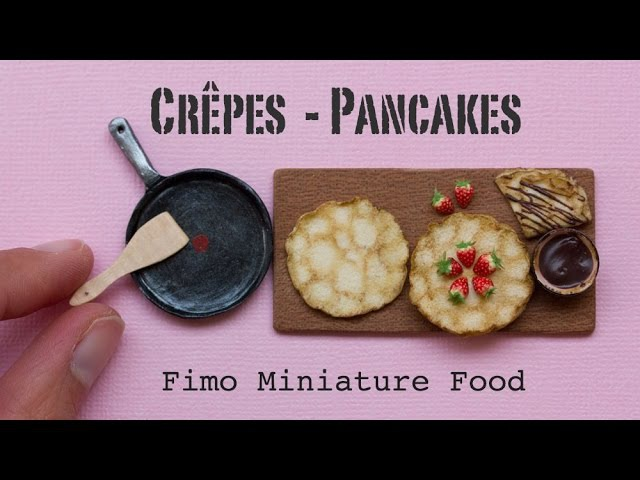 Miniature Pancakes Crêpes, Pan and Strawberries Fimo Polymer Clay Miniature Food Tutorial