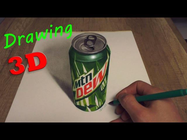 Drawing of MTN DEW Kickstart in 3D Speed Painting baja blast