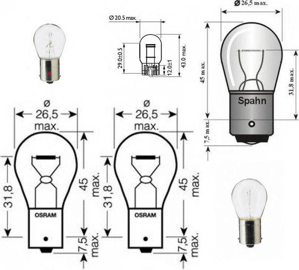 Лампа накаливания, фонарь сигнала тормож./ задний габ. огонь для ALFA ROMEO MITO (955)