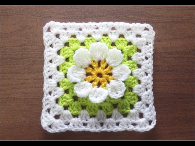 かぎ針編みの四角モチーフ 6 3Dフラワー  How to Crochet Motif Crochet and Knitting Japan