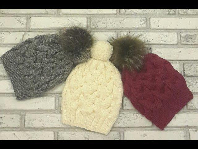 Модная, красивая шапка с косами спицами.Без шва.Вязание спицами. Hat. Вязать легко!