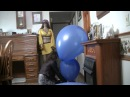 36 inch blue balloons inflate and  boot pop