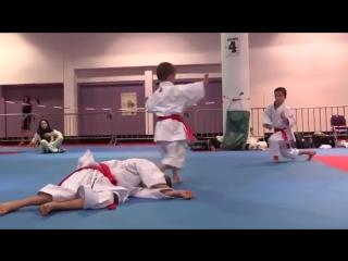Karate Kids practicing bunkai