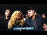 Madonna with Guy Oseary and Zac Efron watching UFC205