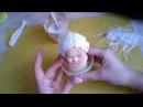Волосы для авторской куклы из грунтованой пряжи имитация лепки Art doll hair made of gessoed yarn