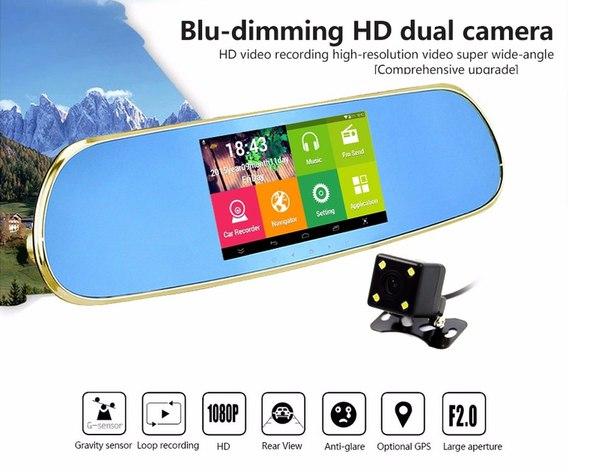 Видеорегистратор-зеркало XPX ZX827 - экран 5 дюймов, Android, GPS, Wi-Fi