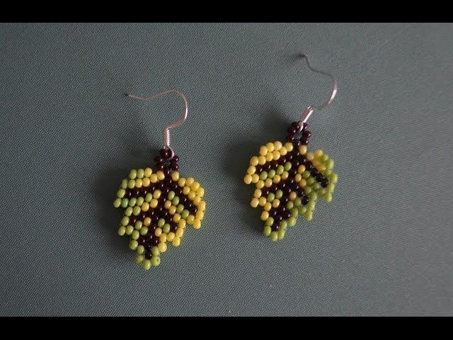 Серьги из бисера Осенний лист. Бисероплетение. Мастер класс / earrings from beads autumn leaf