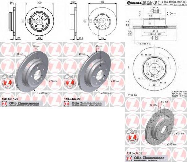 Тормозной диск для BMW X1 (E84)