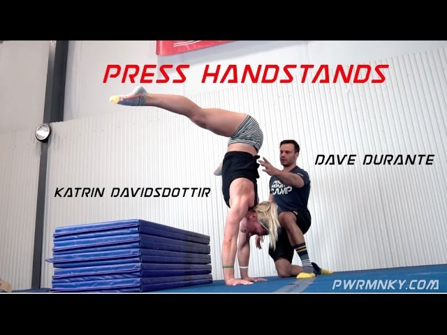 Dave Durante works Press Handstands with CrossFit Games Champion Katrin Davidsdottir