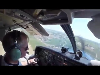 Cockpit view of Engine Failure on skydiving plane