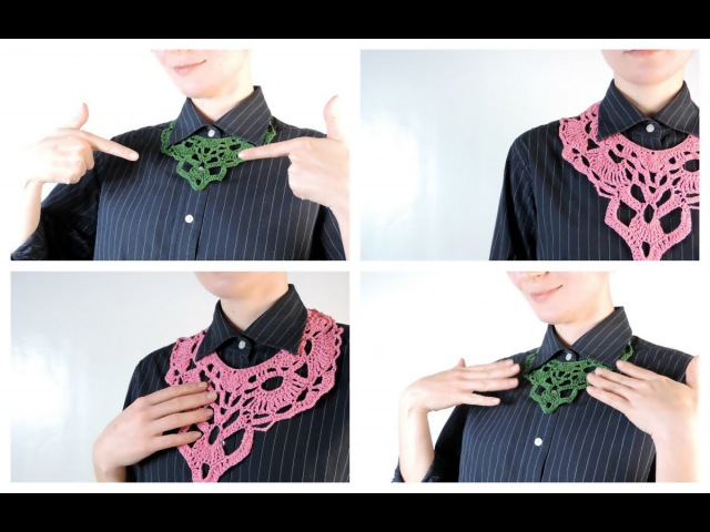 Как связать воротничок-колье крючком / Crochet Collar Neclace Tutorial| Школа вязания