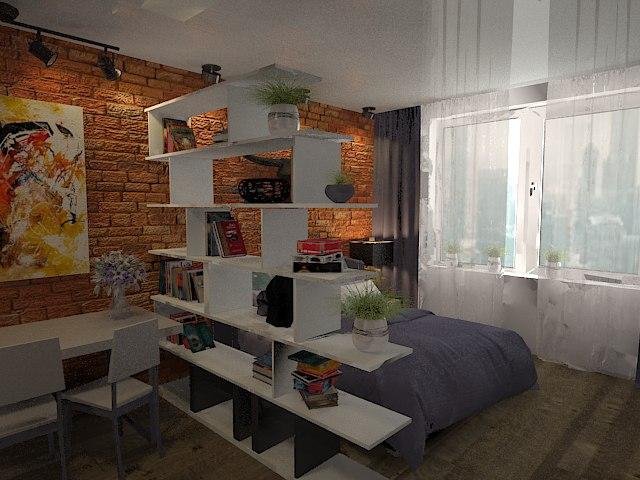 Проект комнаты-студии 20 м в общежитии.