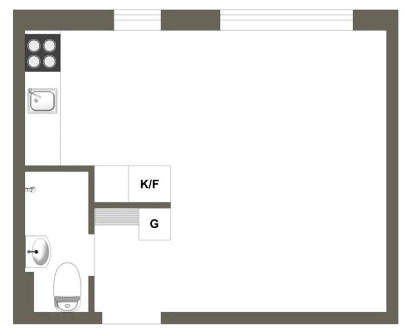 Интерьер квартиры-студии 24 м.
