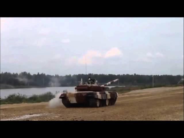 Танковый биатлон 2015. Авария. Перевернулся танк Т 72 Б